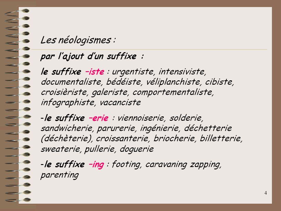 Les néologismes : par l'ajout d'un suffixe :