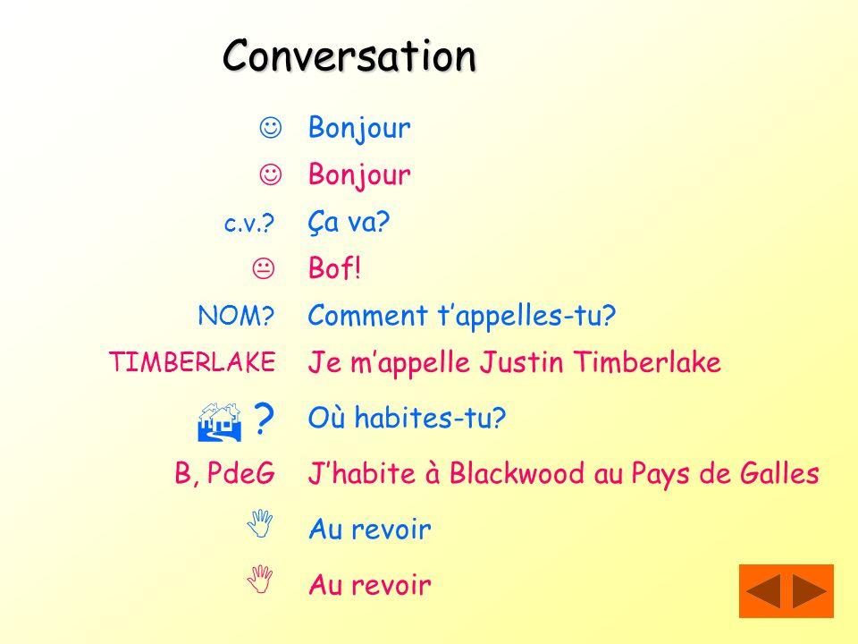Conversation     Bonjour  Bonjour Ça va  Bof!