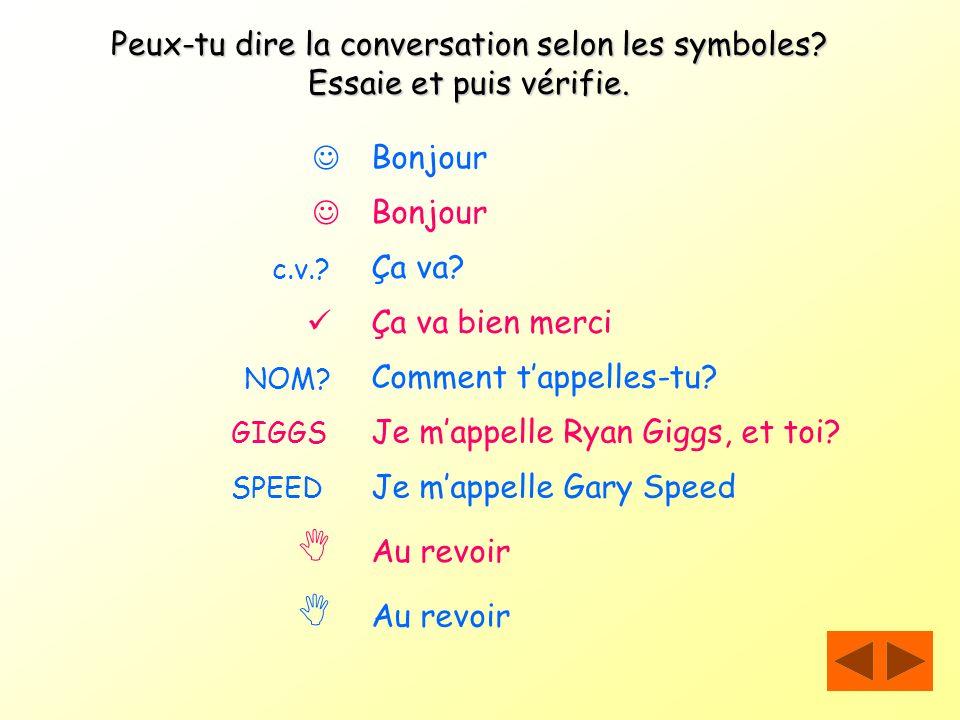 Peux-tu dire la conversation selon les symboles