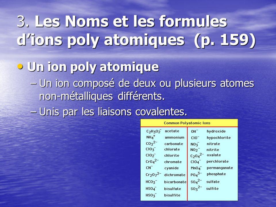 3. Les Noms et les formules d'ions poly atomiques (p. 159)