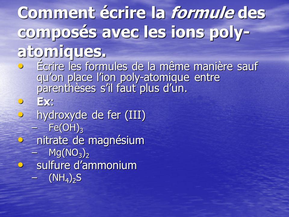 Comment écrire la formule des composés avec les ions poly-atomiques.