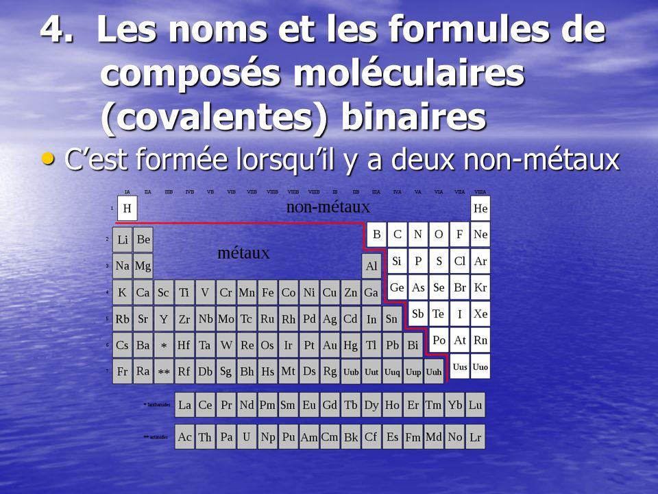 4. Les noms et les formules de composés moléculaires (covalentes) binaires