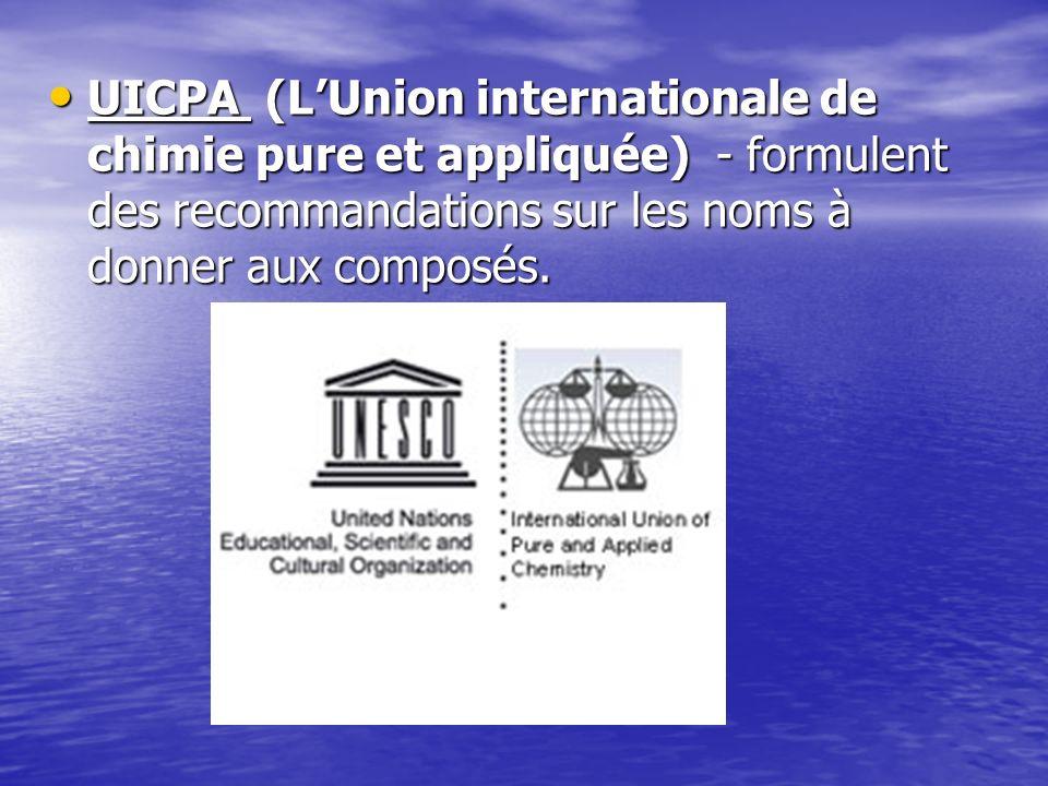 UICPA (L'Union internationale de chimie pure et appliquée) - formulent des recommandations sur les noms à donner aux composés.