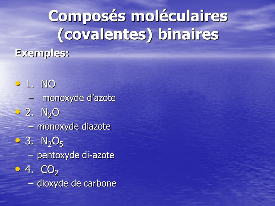 Composés moléculaires (covalentes) binaires