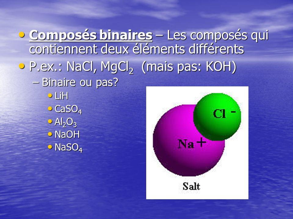 P.ex.: NaCl, MgCl2 (mais pas: KOH)
