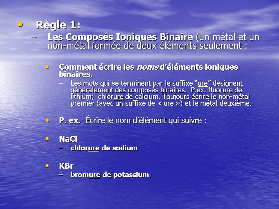 Règle 1: Les Composés Ioniques Binaire (un métal et un non-métal formée de deux éléments seulement :