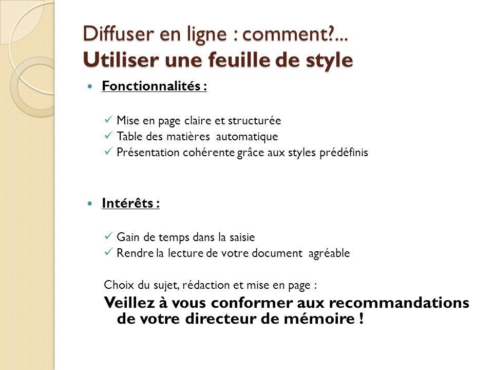 Diffuser en ligne : comment ... Utiliser une feuille de style