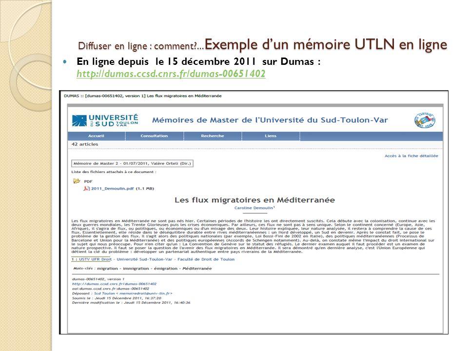 Diffuser en ligne : comment ...Exemple d'un mémoire UTLN en ligne