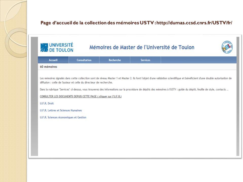 Page d'accueil de la collection des mémoires USTV : http://dumas. ccsd