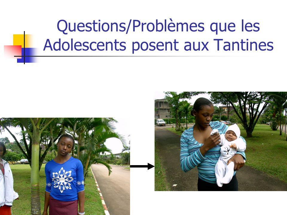 Questions/Problèmes que les Adolescents posent aux Tantines