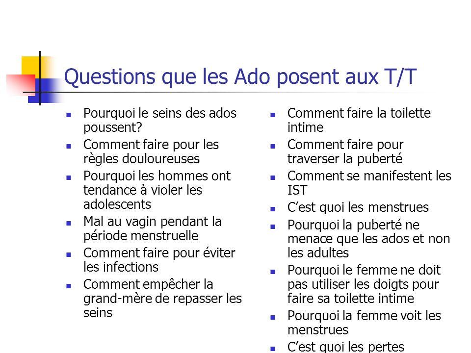 Questions que les Ado posent aux T/T
