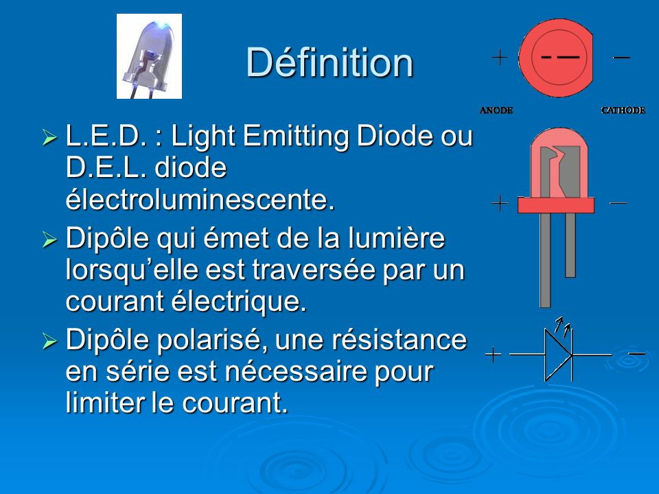 Définition L.E.D. : Light Emitting Diode ou D.E.L. diode électroluminescente.