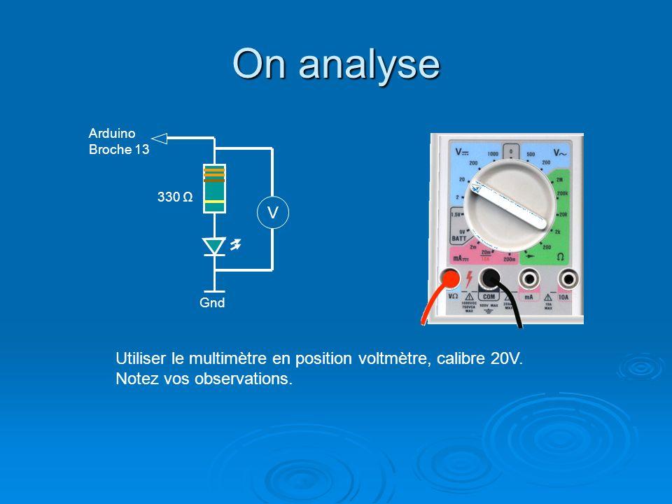 On analyse Arduino. Broche 13. 330 Ω. V. Gnd. Utiliser le multimètre en position voltmètre, calibre 20V.