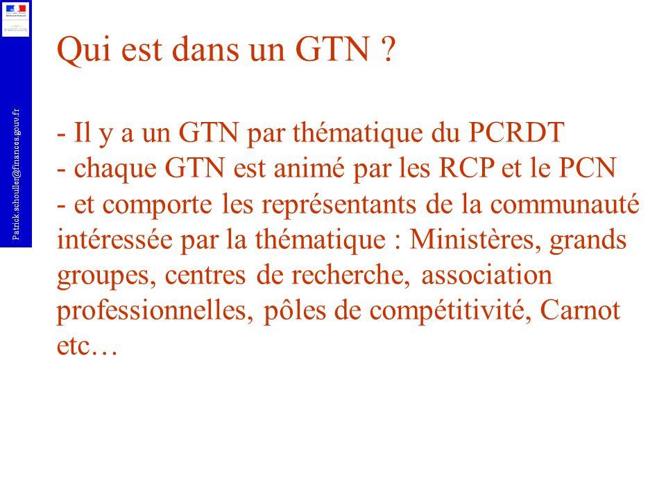 Qui est dans un GTN - Il y a un GTN par thématique du PCRDT
