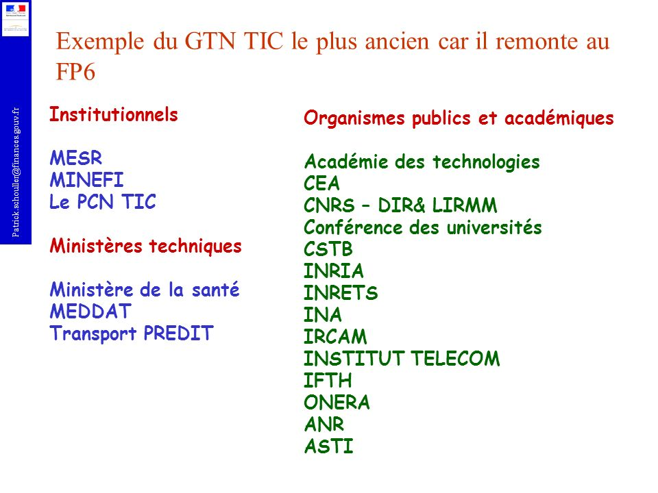 Exemple du GTN TIC le plus ancien car il remonte au FP6
