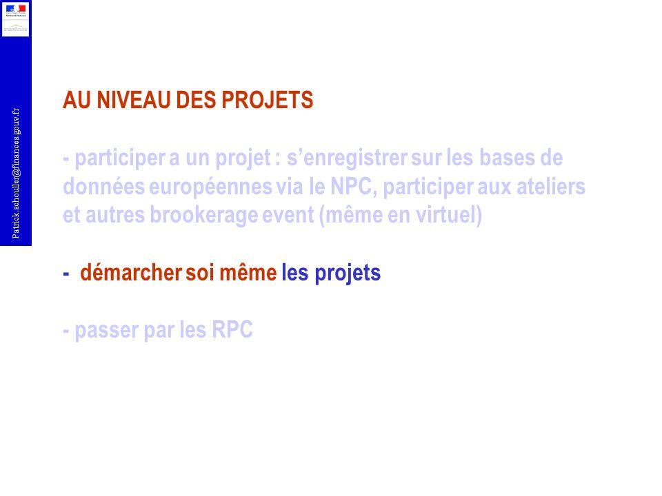 AU NIVEAU DES PROJETS - participer a un projet : s'enregistrer sur les bases de données européennes via le NPC, participer aux ateliers et autres brookerage event (même en virtuel) - démarcher soi même les projets - passer par les RPC