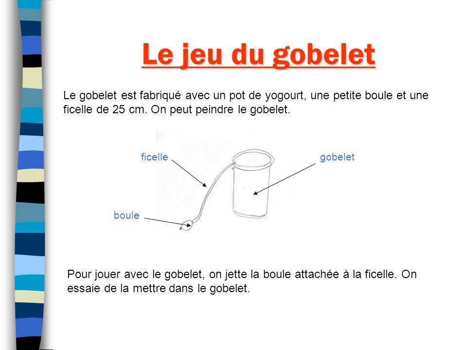 Le jeu du gobelet Le gobelet est fabriqué avec un pot de yogourt, une petite boule et une ficelle de 25 cm. On peut peindre le gobelet.