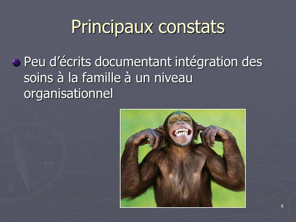 Principaux constats Peu d'écrits documentant intégration des soins à la famille à un niveau organisationnel.