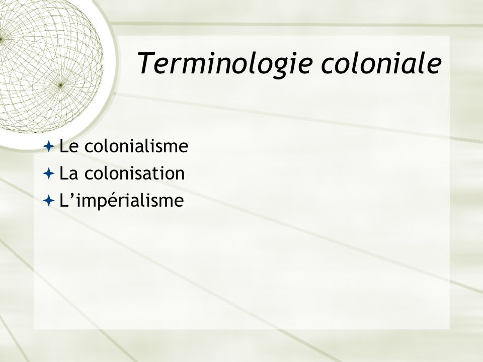 Terminologie coloniale