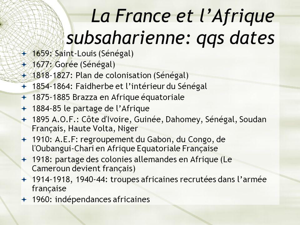 La France et l'Afrique subsaharienne: qqs dates