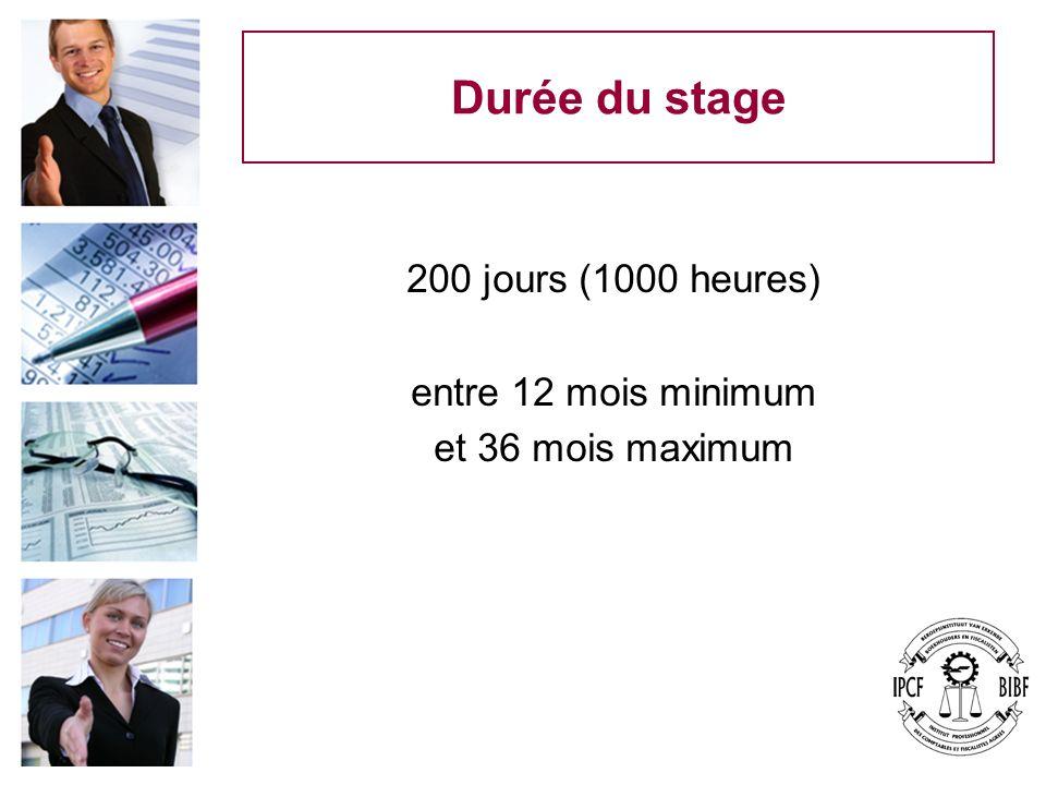 Durée du stage 200 jours (1000 heures) entre 12 mois minimum