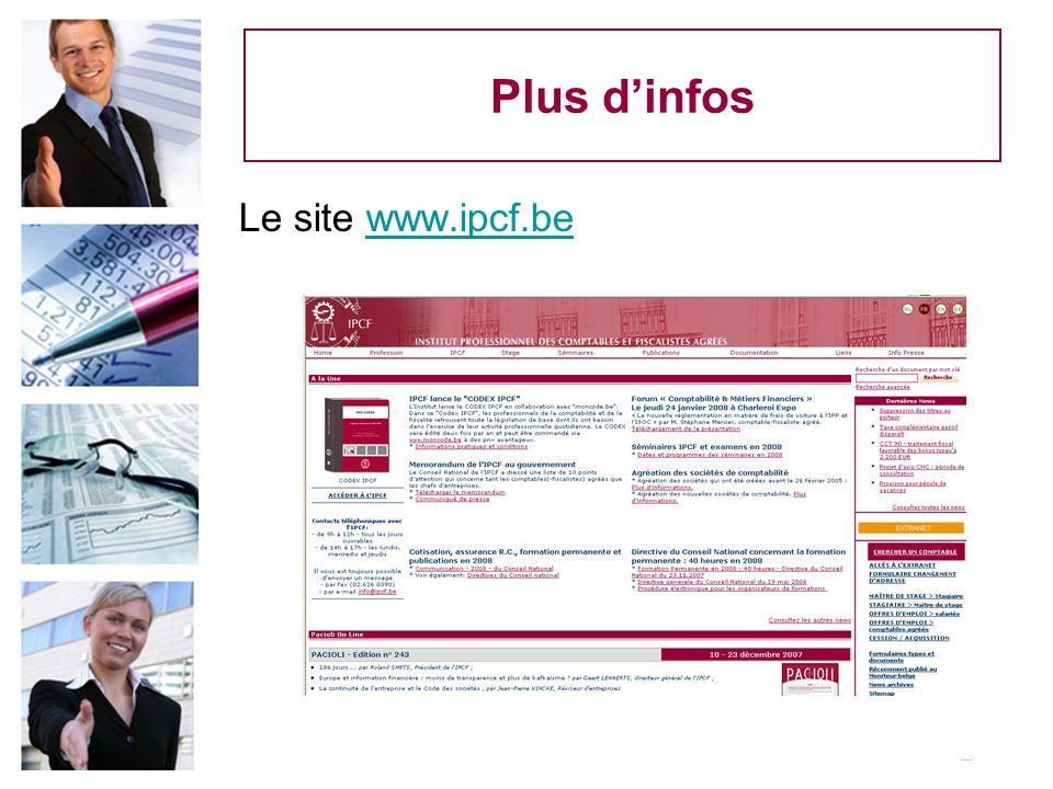 Plus d'infos Le site www.ipcf.be