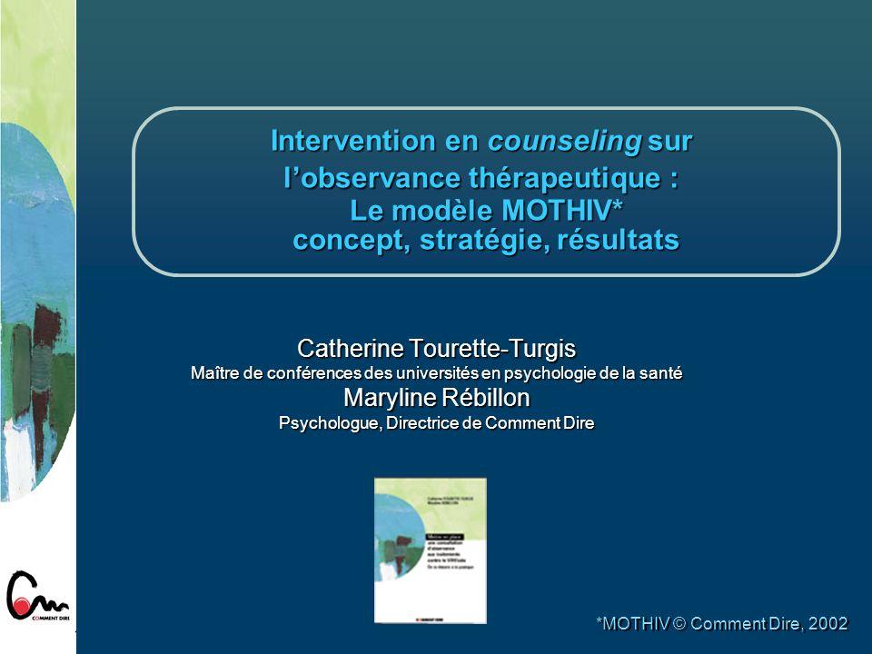 Intervention en counseling sur l'observance thérapeutique : Le modèle MOTHIV* concept, stratégie, résultats