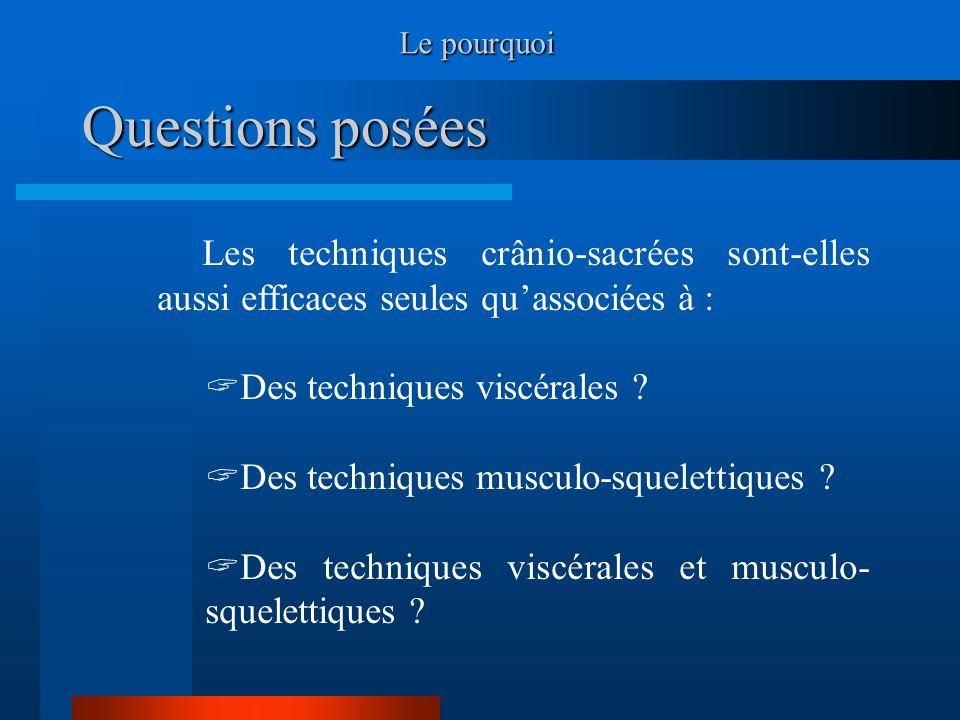 Le pourquoi Questions posées. Les techniques crânio-sacrées sont-elles aussi efficaces seules qu'associées à :