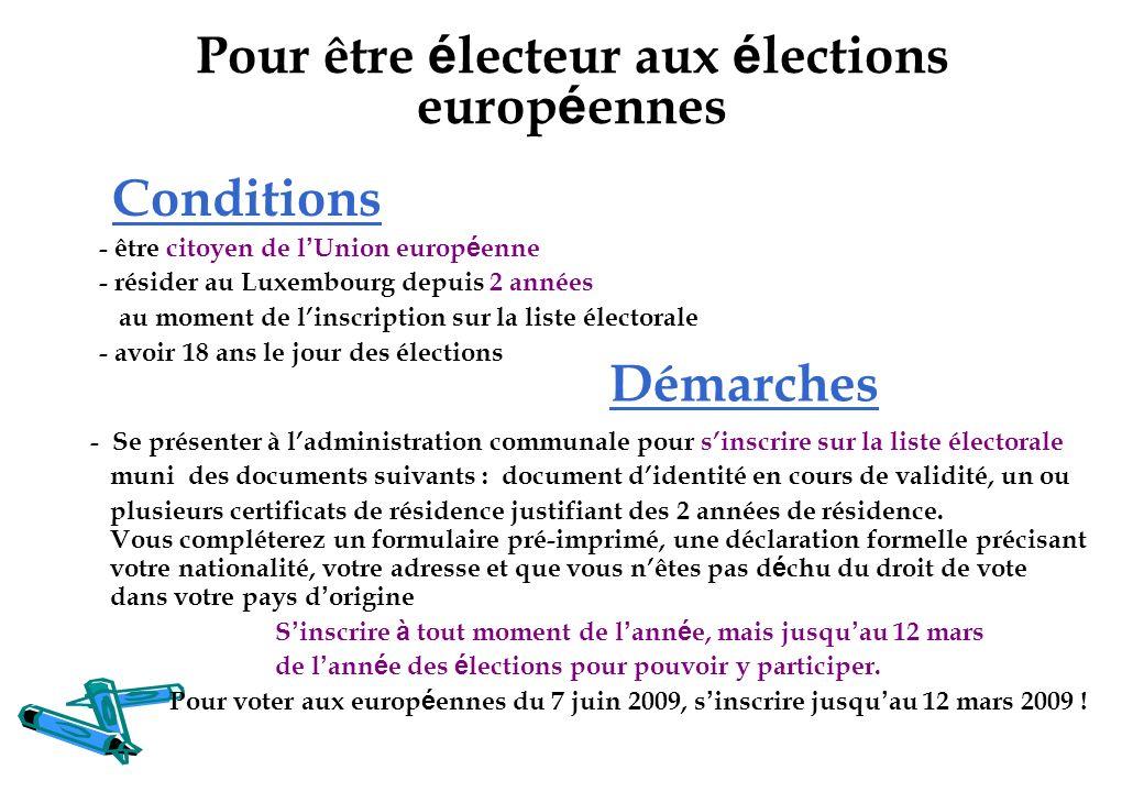 Pour être électeur aux élections européennes