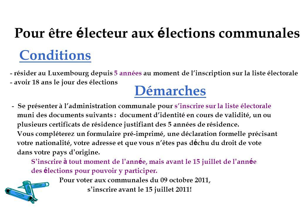 Pour être électeur aux élections communales