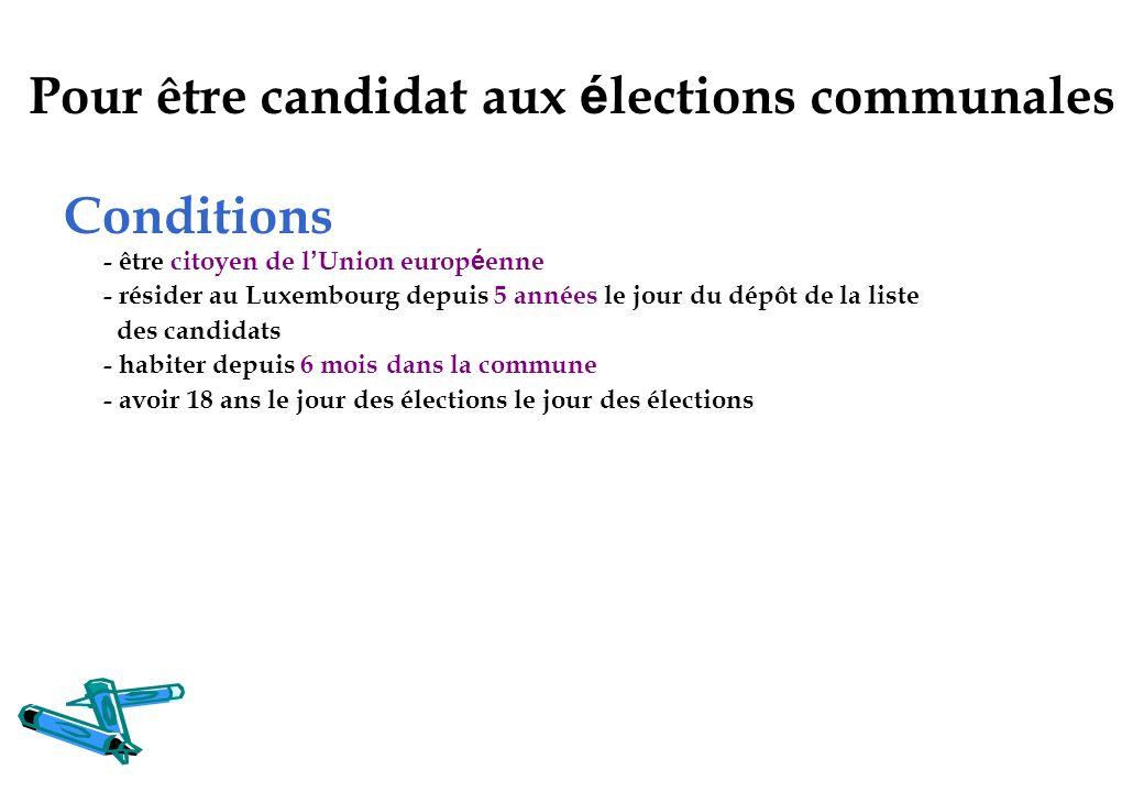 Pour être candidat aux élections communales