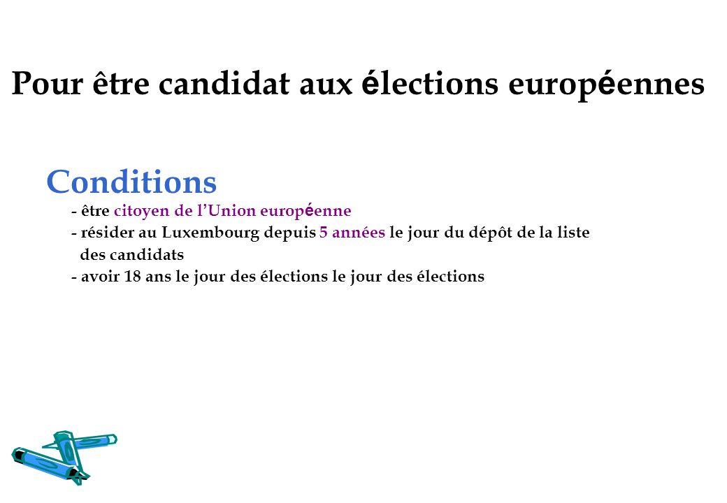 Pour être candidat aux élections européennes