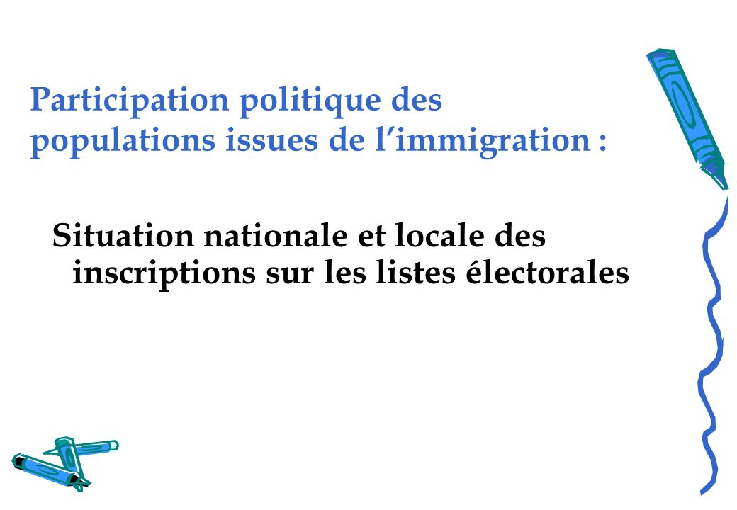 Participation politique des populations issues de l'immigration :