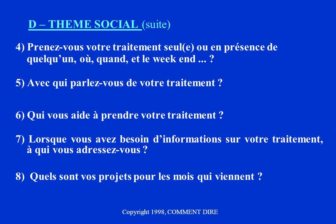 D – THEME SOCIAL (suite)