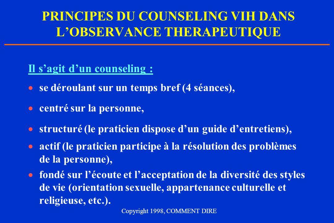 PRINCIPES DU COUNSELING VIH DANS L'OBSERVANCE THERAPEUTIQUE
