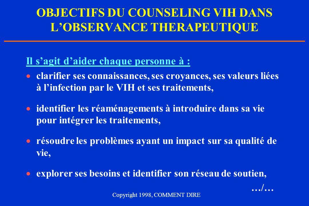 OBJECTIFS DU COUNSELING VIH DANS L'OBSERVANCE THERAPEUTIQUE
