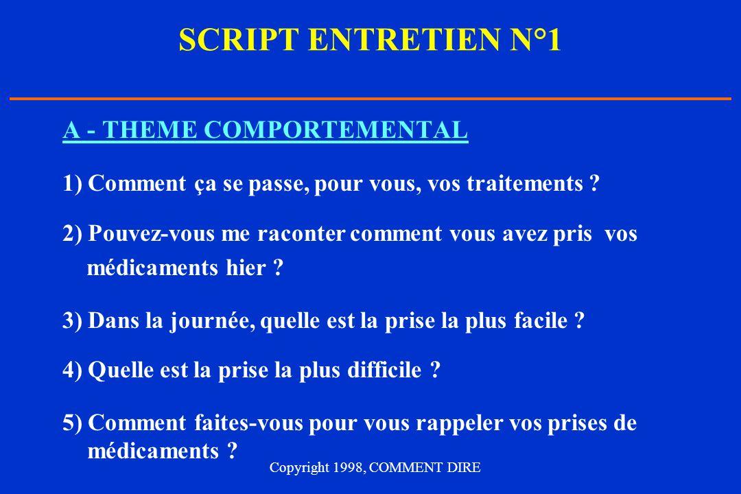 SCRIPT ENTRETIEN N°1 A - THEME COMPORTEMENTAL