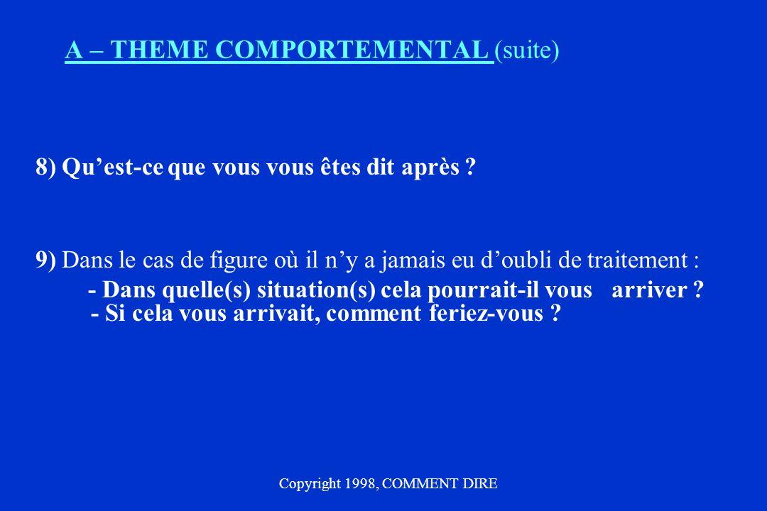 A – THEME COMPORTEMENTAL (suite)