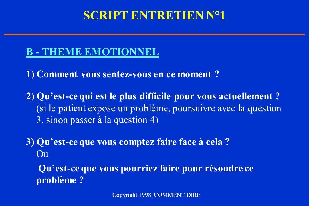 SCRIPT ENTRETIEN N°1 B - THEME EMOTIONNEL