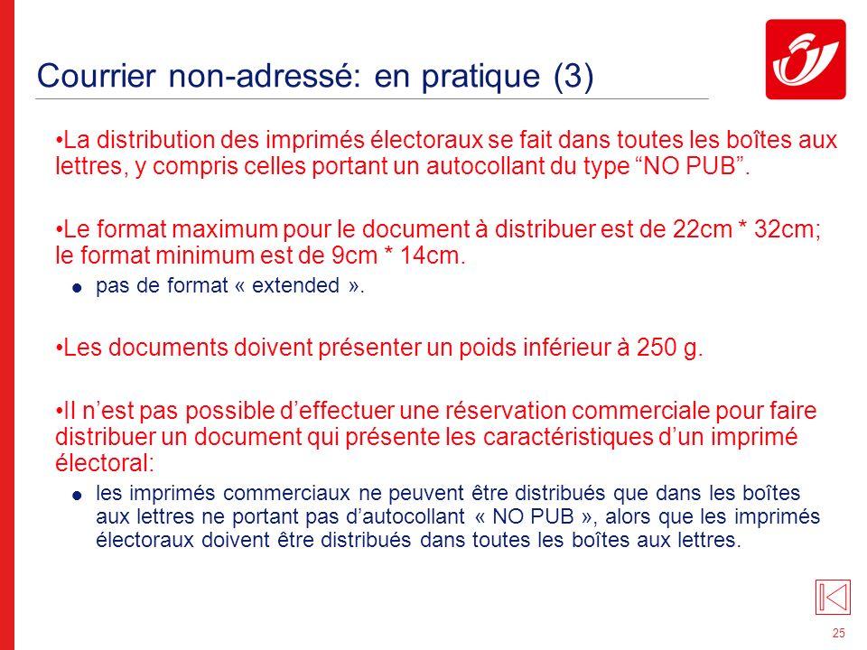 Courrier non-adressé: tarification (1)