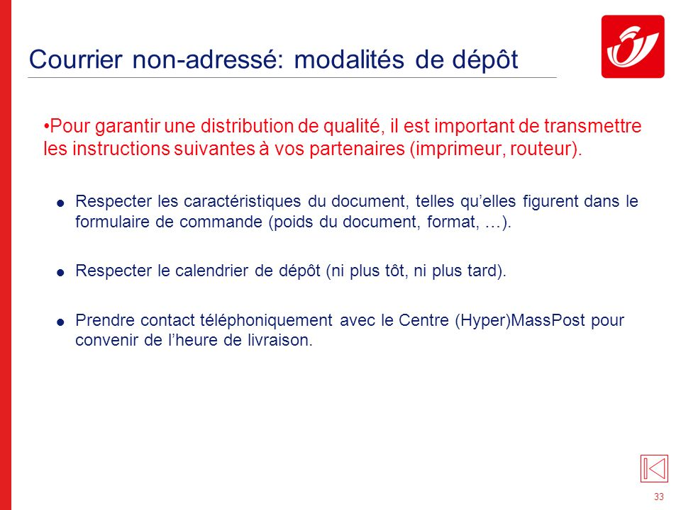 Courrier non-adressé: conditionnement des documents