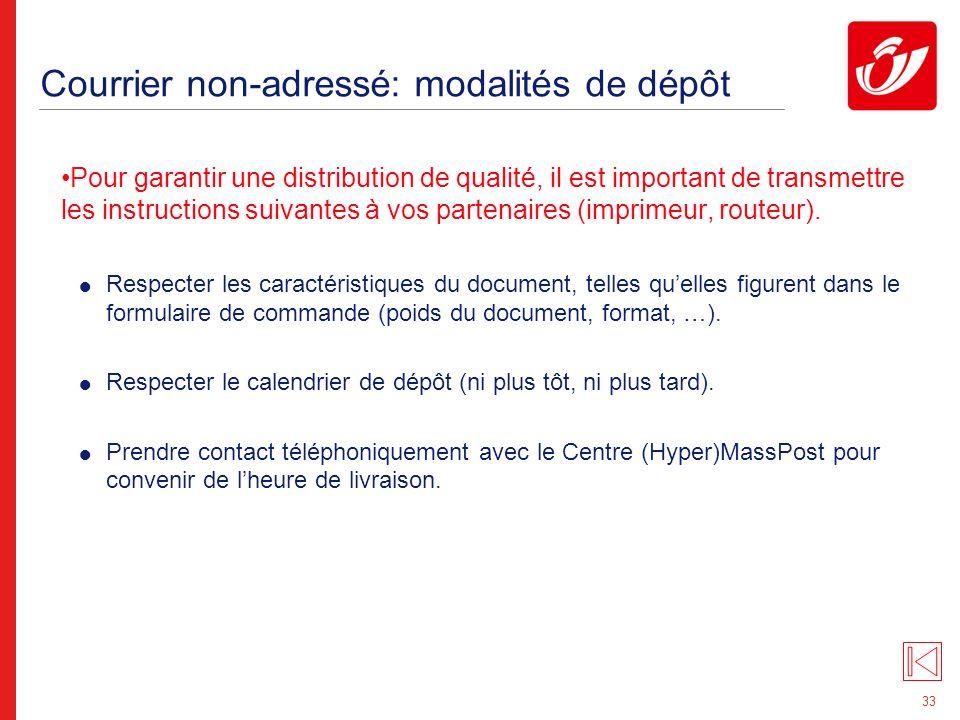 Courrier non-adressé: conditionnement des documents