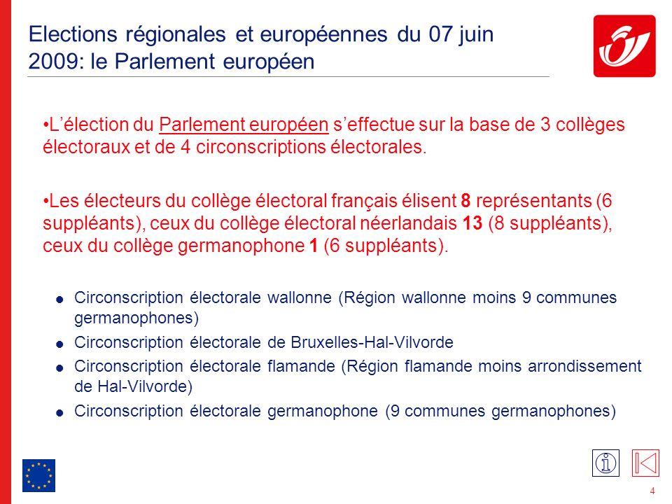 Elections régionales et européennes du 07 juin 2009: le Parlement wallon