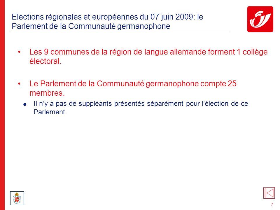 Elections régionales et européennes du 07 juin 2009: le Parlement flamand
