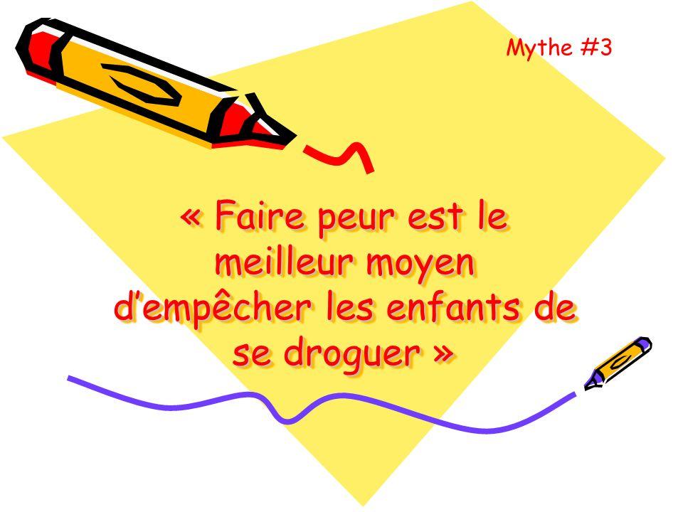 Mythe #3 « Faire peur est le meilleur moyen d'empêcher les enfants de se droguer »