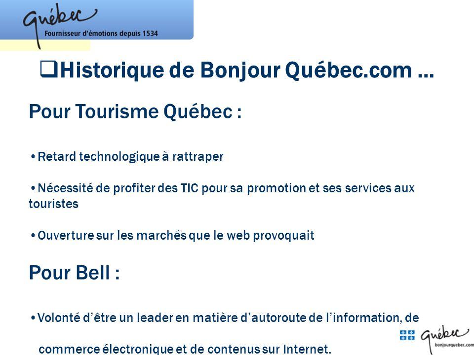 Historique de Bonjour Québec.com …