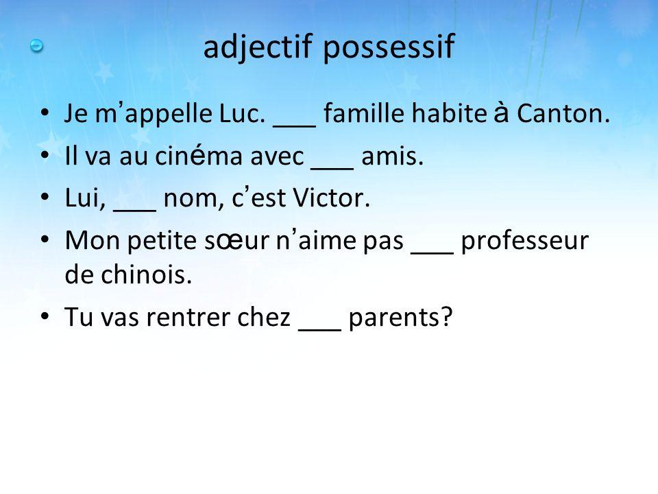 adjectif possessif Je m'appelle Luc. ___ famille habite à Canton.