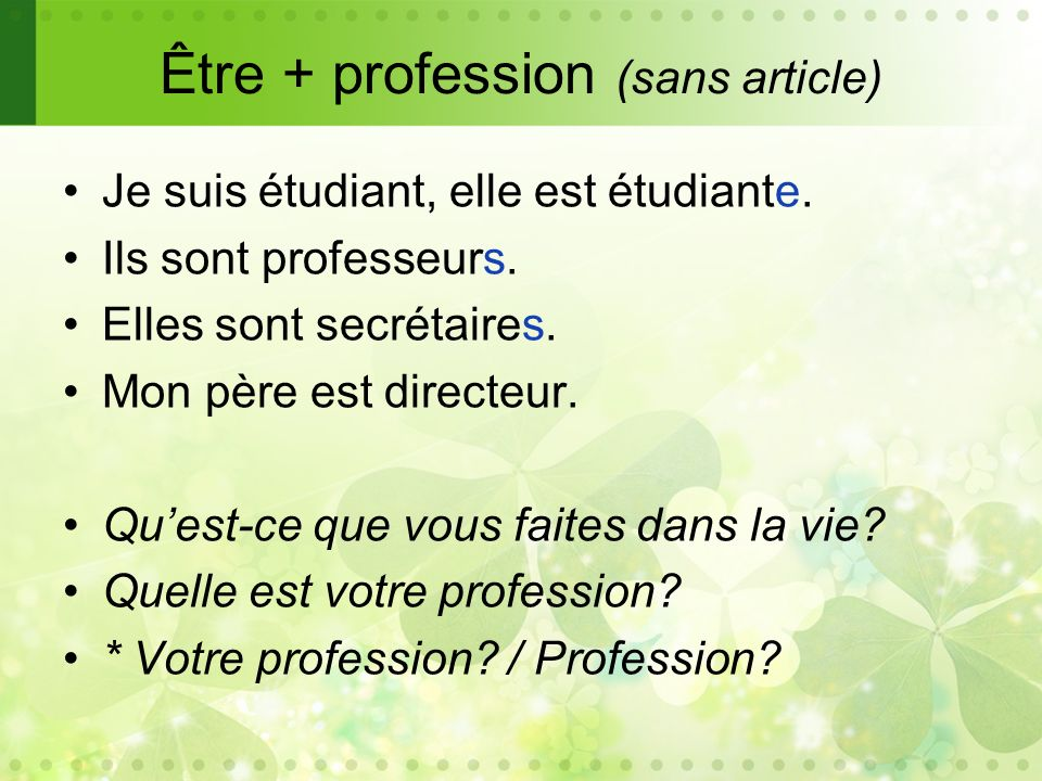 Être + profession (sans article)