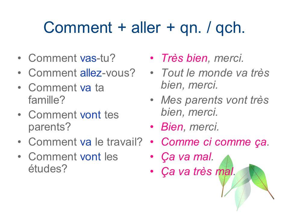 Comment + aller + qn. / qch.