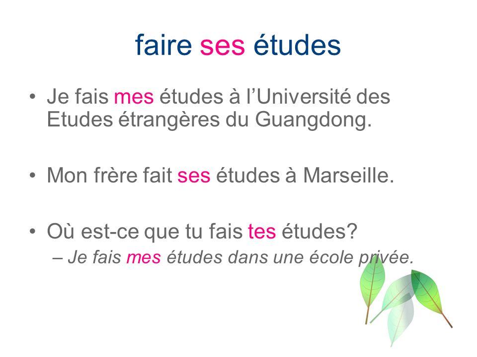 faire ses études Je fais mes études à l'Université des Etudes étrangères du Guangdong. Mon frère fait ses études à Marseille.